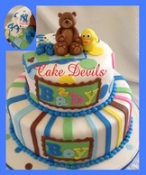 Bear Duck Baby Shower Cake