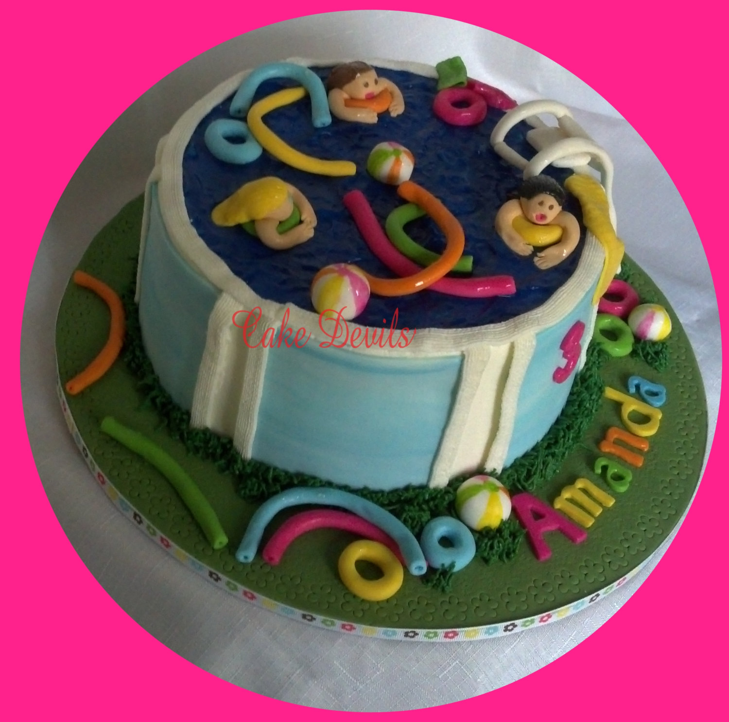 Edible Cake Decorations Beach : Pool Party Cake Topper Kit - Fondant, Handmade Edible ...