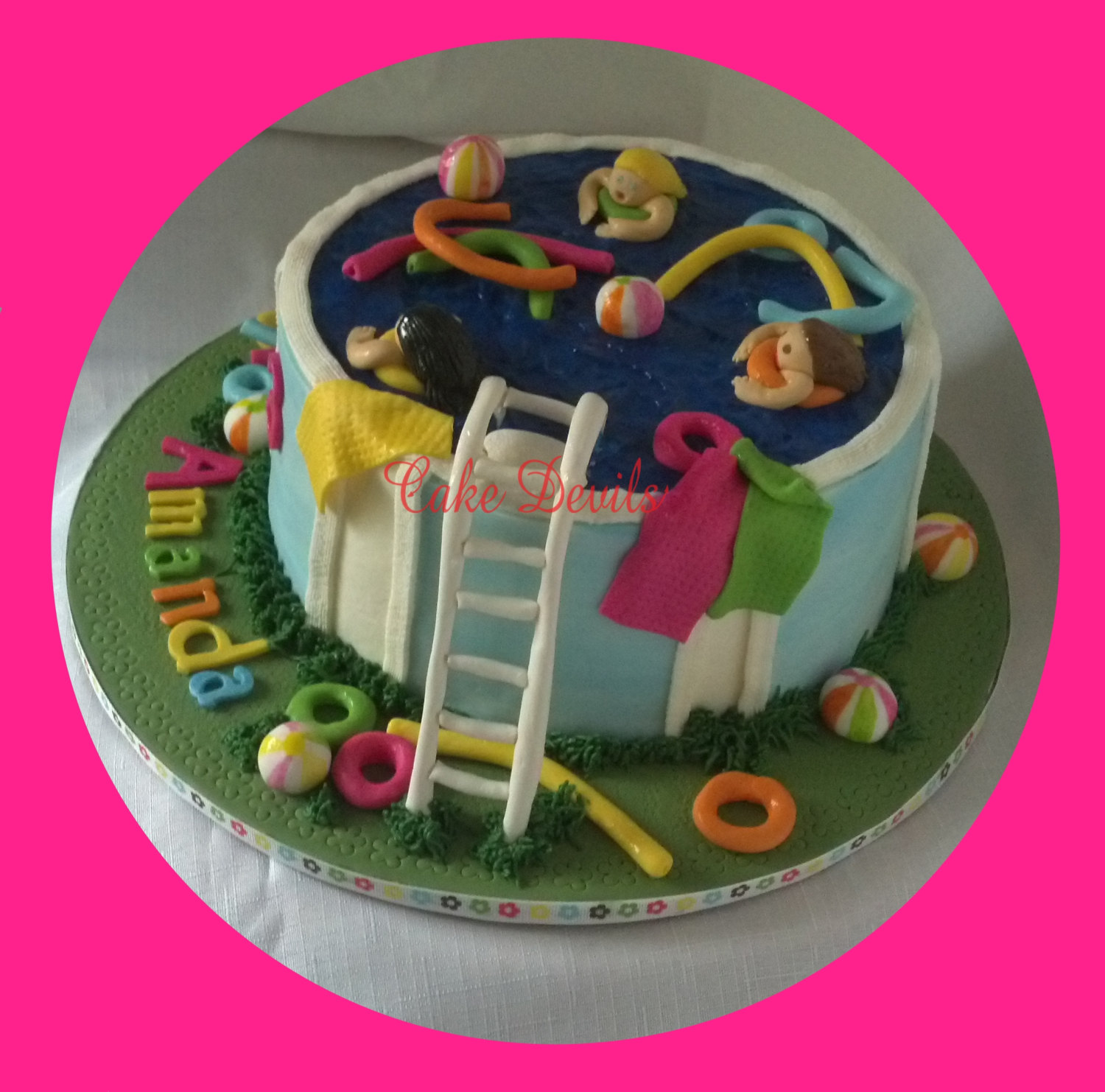 Pool Party Cake Topper Kit Fondant Handmade Edible Beach ball