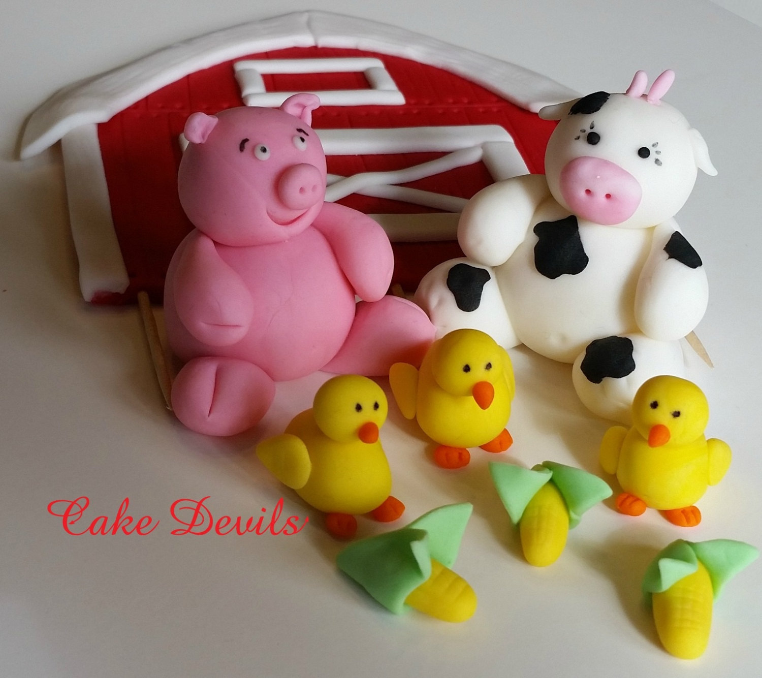 Flat barn farm animal fondant cake topper kit handmade for Animal cake decoration
