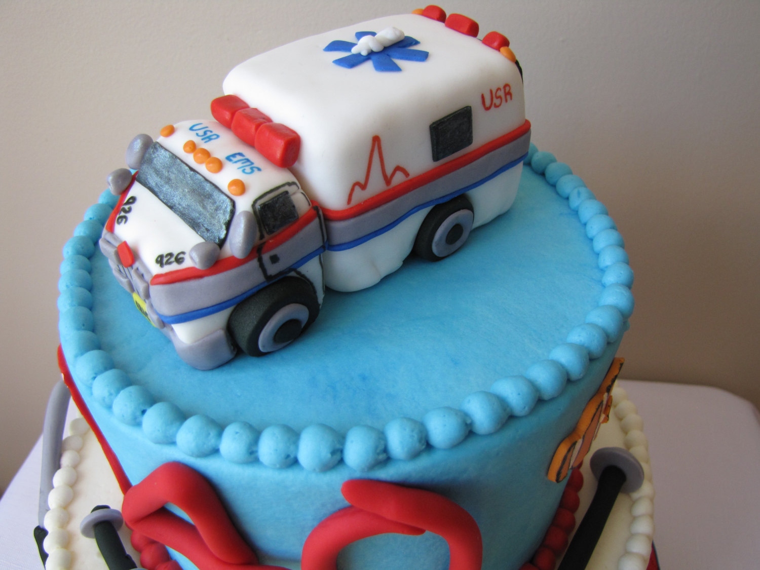 Ambulance Cake Topper Fondant Handmade Edible ambulance cake