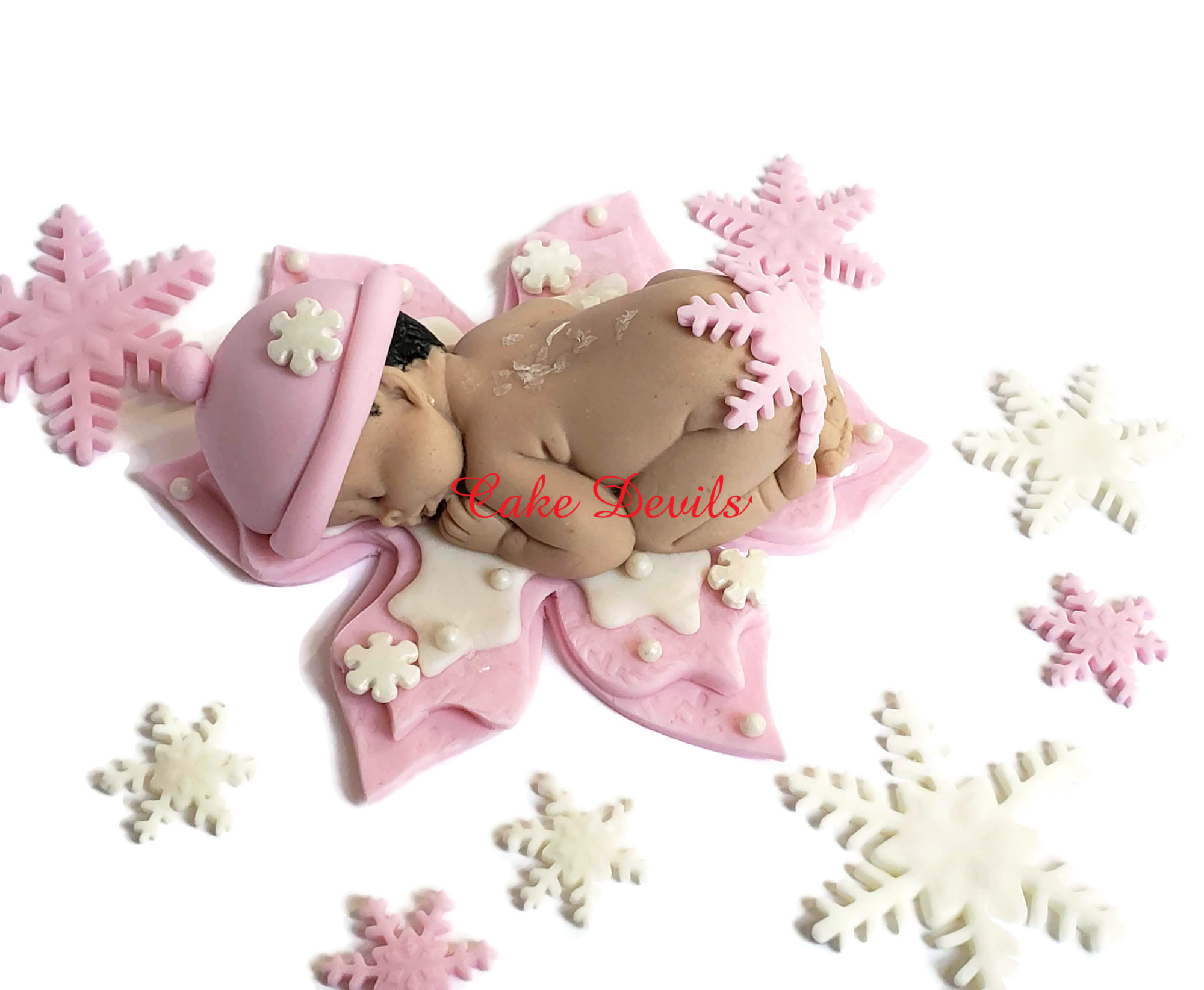 Fondant Pink Snowflake Baby Shower Cake Topper Winter Baby