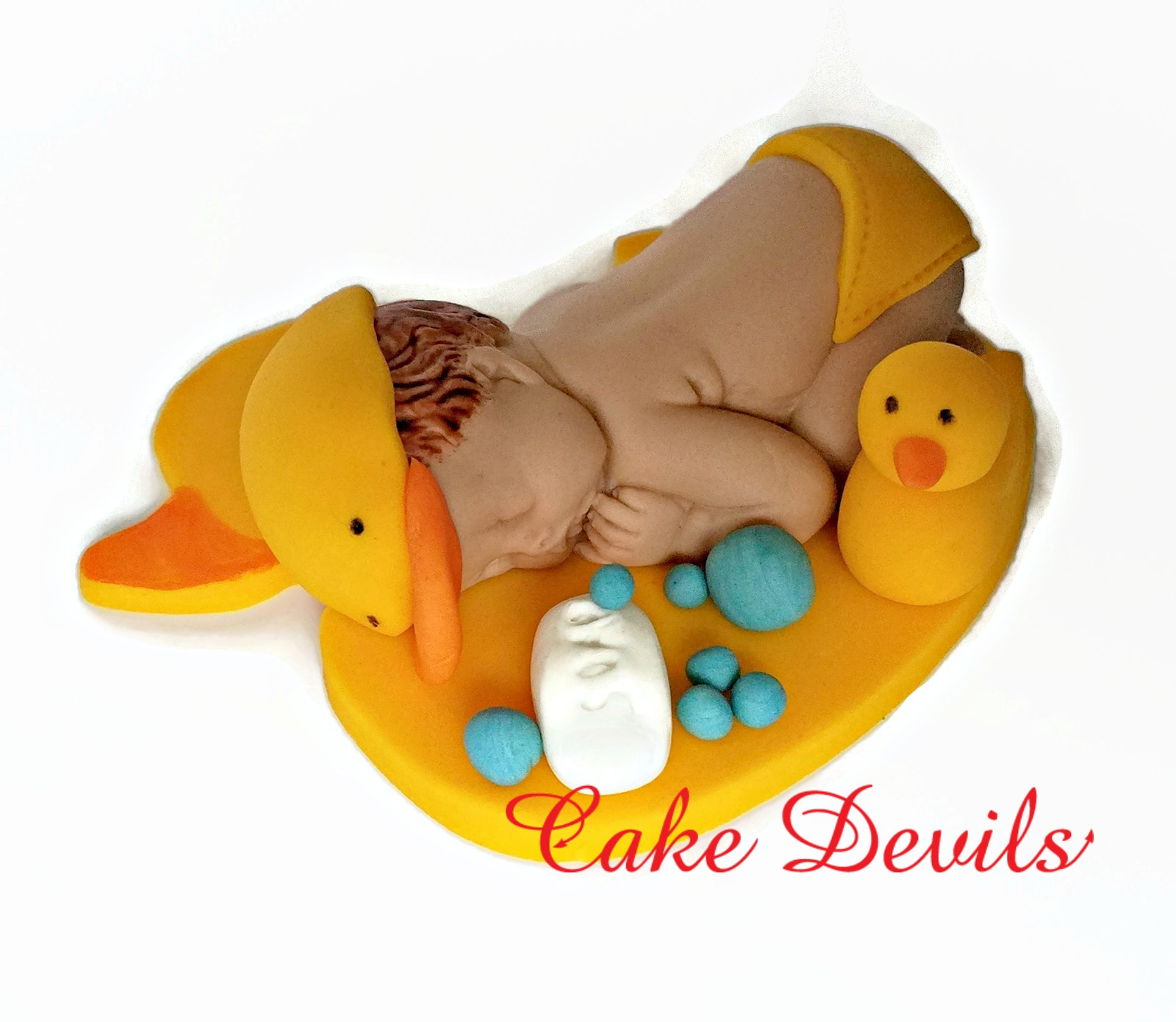 Sleeping Baby Duck Fondant Cake Topper Rubber Ducky Baby