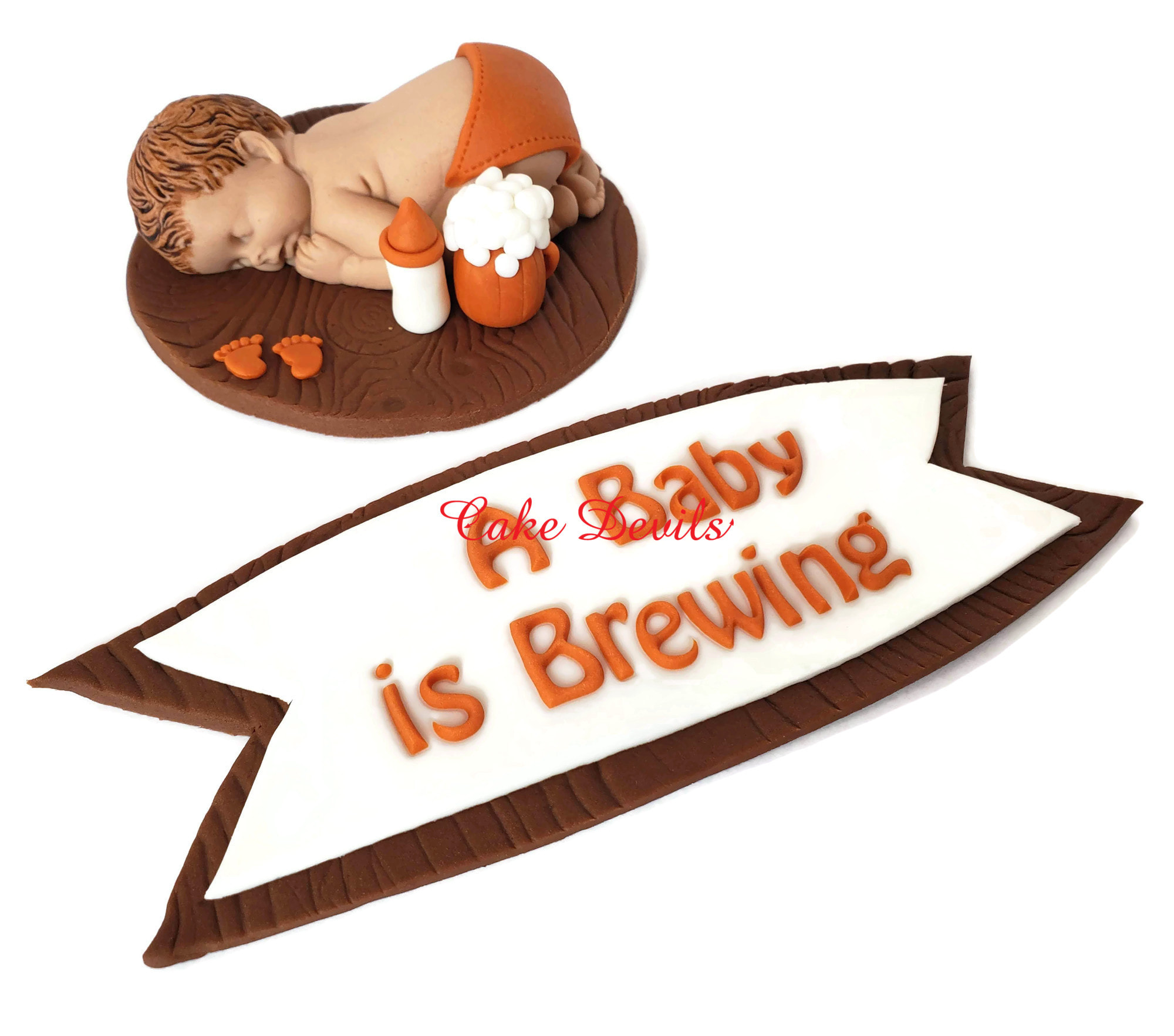 A Baby Is Brewing Cake Topper Fondant Beers And Bottles Baby Shower Cake Decoration Baby Brewing Banner Sleeping Baby Coed Baby Shower